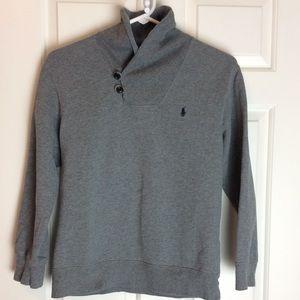 Polo Gray sweatshirt with fun collar. Size 10-12